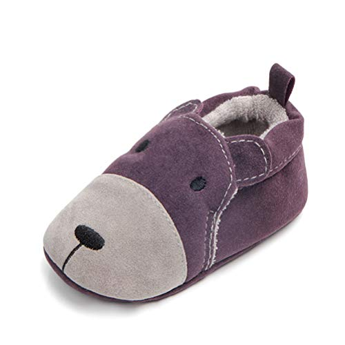 Scarpe da Animali dei Cartoni Animati Neonato, Bambina Ragazzino Scarpe di Cotone Morbido Anti Scivolo Neonata Scarpine Primi Passi (12-18 Mesi, Orso Viola)
