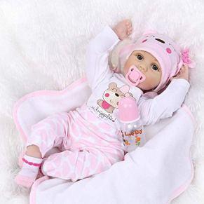 22 Pulgadas Reborn bebé Muñecos Reborn Muñeca Vinilo de Silicona Suave Babies Reborn Baby Doll Niña Boca magnética Niños…