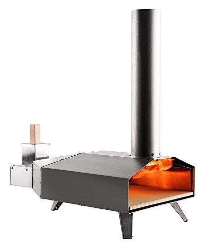 Uuni 3, Forno portatile per pizza completo di pala e pietra di cottura, alimentato a pellet, Colore Acciaio inossidabile