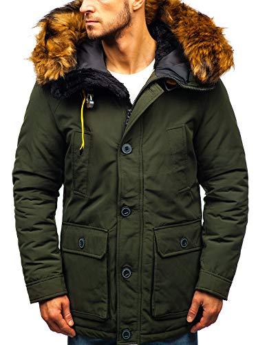 BOLF Giubbotto - Invernale - con Cappuccio - Parka - Collo Alto - Stile Sportivo - da Uomo X-Feel 99126 Verde S [4D4]