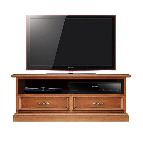 Porta tv basso con vano per soudbar, mobile per tv stile classico, mobile tv in legno con 1 vano e 2...