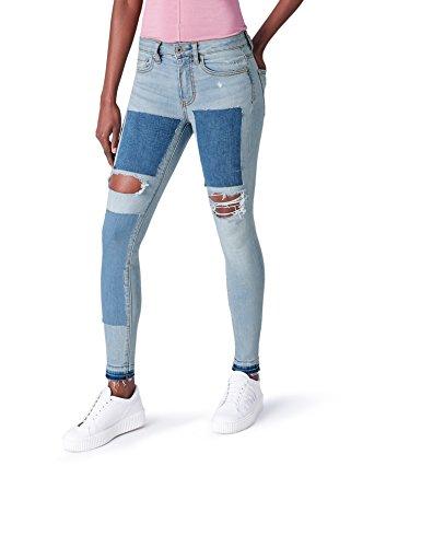 FIND Jeans Damen Skinny mit Distressed-Look, Blau (Light Blue),...