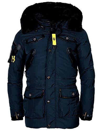 Geographical Norway - Giacca invernale da uomo con cappuccio, modello Acore, caldo anorak imbottito, giacca outdoor, collezione 2019/20 Blu M