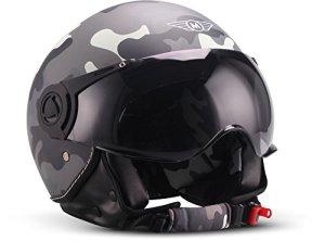 Moto Helmets H44 Biker Jet-Helm Helmet Retro Scooter-Helm Chopper Vintage Mofa Cruiser Pilot Bobber Moto Helmetsrrad-Helm Roller-Helm Vespa-Helm, ECE zertifiziert, inkl. Stofftragetasche 7