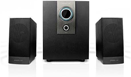 Speedlink Aktives 2.1 Subwoofer System - AVENZA 2.1 Lautsprechersystem 3,5mm (optimale Multimedia-Eignung für Spiele und Filme - Frequenzgang von 50Hz bis 20kHz - Slim Design) für Computer / Laptop schwarz