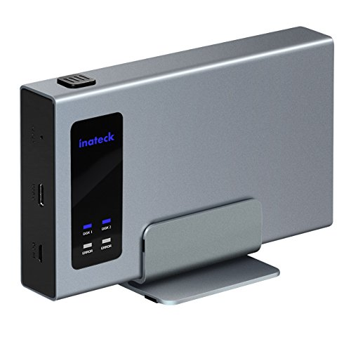 Inateck Custodia Raid Case Esterna per Hard Disk Disco Rigido USB-C RAID Doppia con supporto...