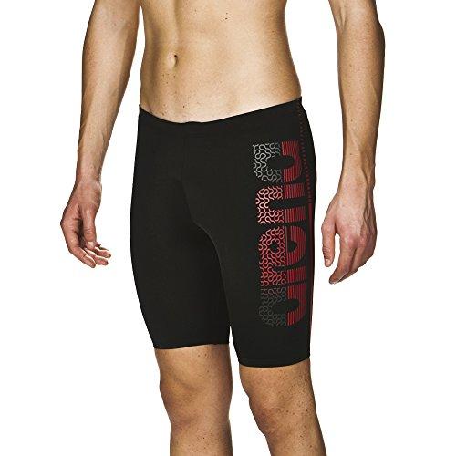 arena Herren Sport Badehose Resistor Jammer (Schnelltrocknend, UV-Schutz UPF 50+, Chlorresistent, Kordelzug), Black-Red (504), 5