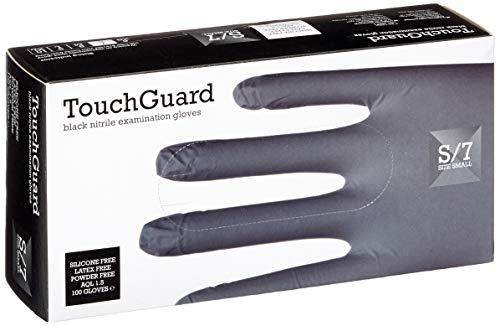 TouchGuard, Guanti monouso in nitrile, neri, senza lattice e senza talco, confezione da 100, taglia...
