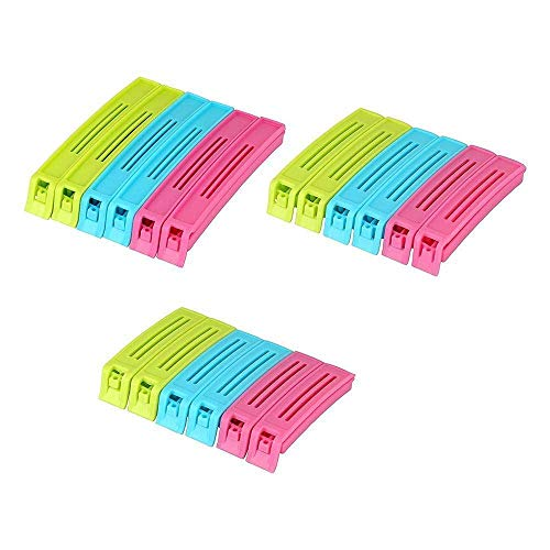 KetZeal® || Plastic Bag Sealing Clips | Food Snack Pouch Clip Sealer | 3 Different Size (Multicolor) - Pack of 18
