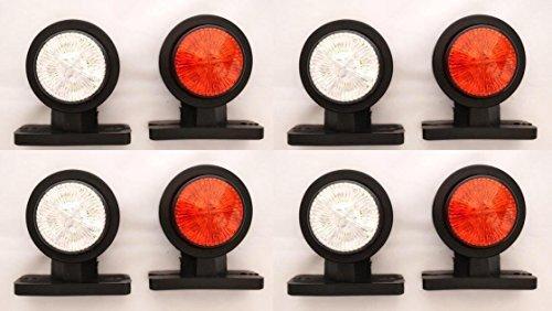 8 pezzi, 12 V 24 V, colore: bianco/rosso a LED per le luci di posizione laterali-Rimorchio e camion,...