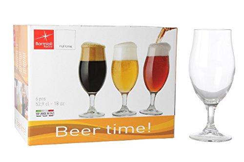 Bormioli Executive Beer Time Set di 6 Bicchieri da Birra in Vetro Trasparente 128550-B25 Trasparente