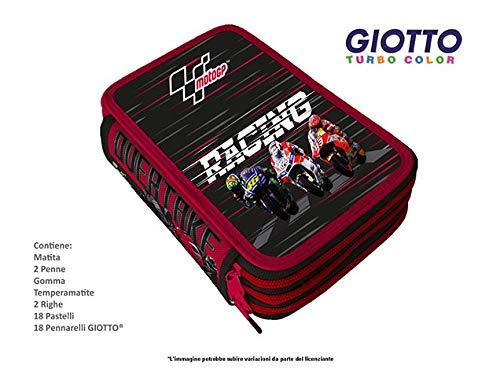 SCUOLA ASTUCCIO 3 ZIP MOTO GP RACING con pennarelli GIOTTO
