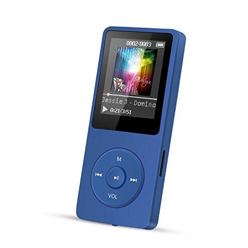 MP3 Player, 8 GB verlustfrei MP3 mit 1.8 Zoll Bildschirm, 70 Stunden Wiedergabezeit, Unterstützung FM Radio, Bilder, Aufnahmen, E-Buch, bis 64 G TF Karte, (Verpackung MEHRWEG) Marineblau