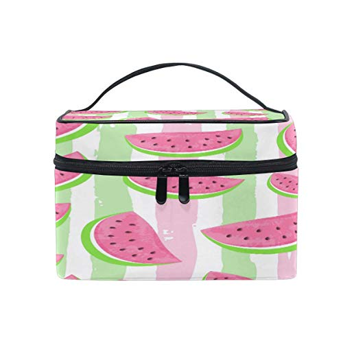 Large Makeup Bag Organizer Vintage Watermelon Stripe Cosmetic Case Bag Toiletry Storage Portable...
