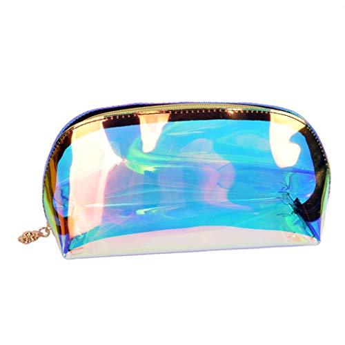 GuanjunLI - Borsetta olografica per trucchi e cosmetici, con manico, colorata, iridescente,...