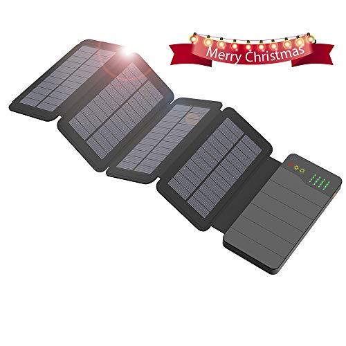 ALLPOWERS 10000mAh Caricatore Solare Power Bank con 4 Pannelli Solari, Dual USB, Torcia LED...