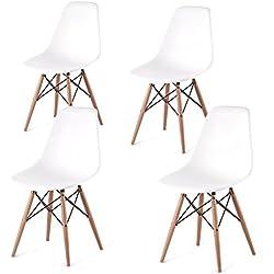 Set 4 sedie modello DSW in polipropilene bianco. Replica di design ispirata ad una delle più famose sedie progettate da Charles Eames.