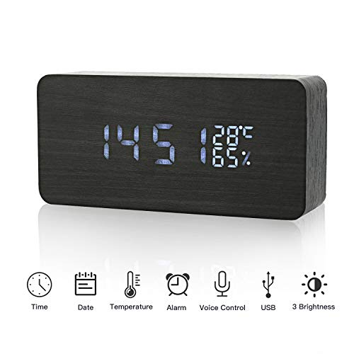LED Digital Alarm Clock in legno Orologio digitale 3 Livelli Luminosità regolabile Voice Touch...