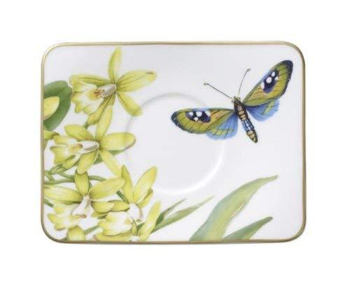 Villeroy & Boch Amazonia - Plato de café (14 x 11 cm), diseño de Mariposa, Color Blanco