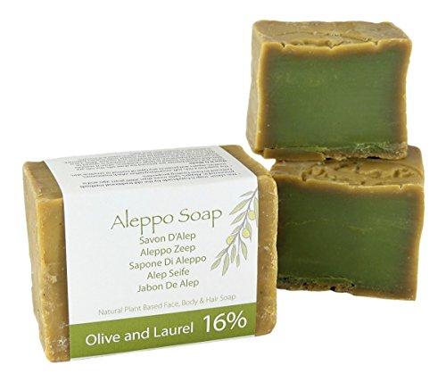 Naturel Alep Savon (Aleppo) traditionnellement fabriqué à la main - Huiles d'olive et de laurier 200 gm