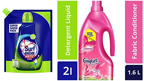 Surf Excel Top Load Matic Liquid Detergent Pouch - 2 L & After Wash Lily Fresh Fabric Conditioner - 1.6 L Combo