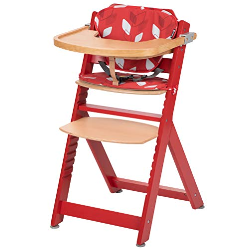 Safety 1st Timba con cuscino Raspberry Red - Seggiolone in legno evolutivo rosso
