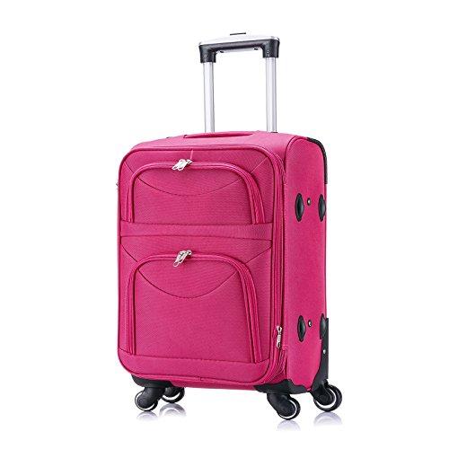 WOLTU RK4214pk-M, Reisekoffer Stoff 4 Rollen, Reise Koffer Trolley 1200D Oxford Weichschale, Weichgepäck Reisegepäck Handgepäck M/L/XL/Set, leicht & günstig, Pink (M, 56 cm & 42 Liter)