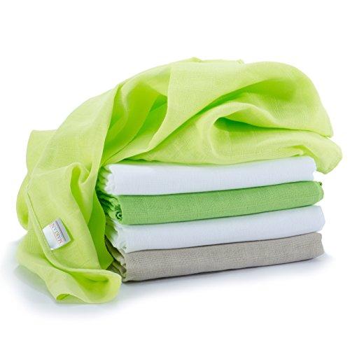 Mussola in cotone neonato - 5 pezzi - 70 x 70 cm - Qualità superiore - verde, tessuto doppio, bordi rinforzati, Öko-Tex Standard 100, lavabili a 60° C