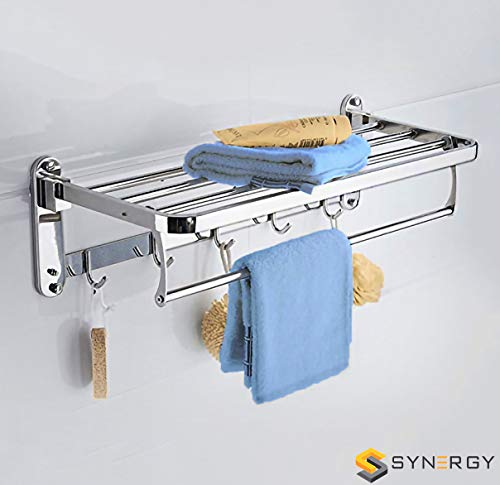 SYNERGY - Prime - 24 Inch Stainless Steel Folding Towel Rack for Bathroom/Towel Stand/Hanger/Bathroom Accessories (SY-TH8)