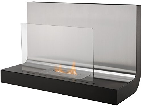 Adam The Crescent Wall Mounted Bio Ethanol Fire in Stainless Steel, 31 Inch