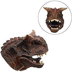 iBaste-ES Marioneta de Mano de Dinosaurio de Silicona para niños Suave de Goma Carnotaurus Realista Juegos de rol Juguetes de Dedo para niños