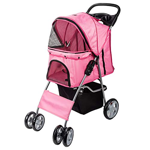 Dawoo Pet Dog Cat Animal Stroller passeggino Pram Jogger Buggy con 4 Wheels _rosa_
