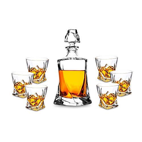 KANARS set di Bottiglie di Whisky in Cristallo da 7 Pezzi con Decanter e Bicchieri - Capacità...