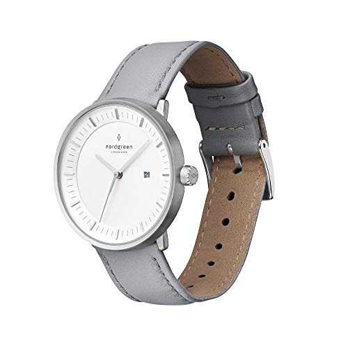 Nordgreen Philosopher Skandinavische Klassische Uhr in Silber Analog Quarzwerk 36mm (M) mit Lederarmband in Grau 10039