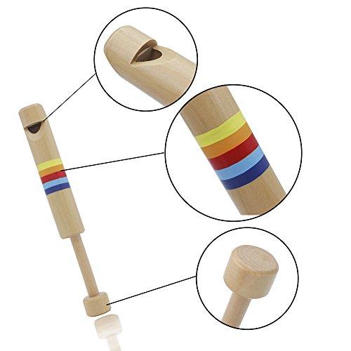 ammoon Push & Pull Fischio di Flauto di Fipple Di Legno Regalo del Giocattolo Dello Strumento Mu