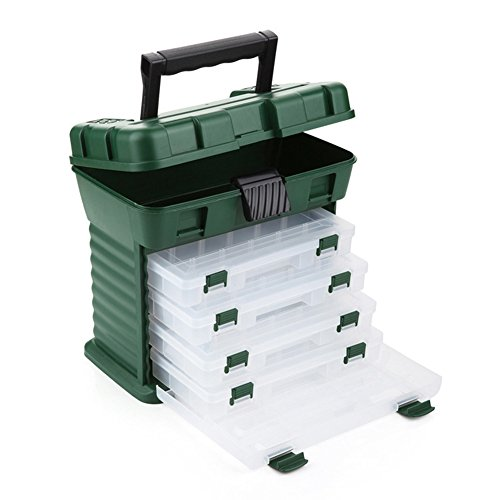 Gossip Boy, contenitore verde multifunzione per attrezzatura da pesca, contenitore per conservare strumenti da pesca, esche, ganci, girelle, custodia con 4cassetti e divisori regolabili