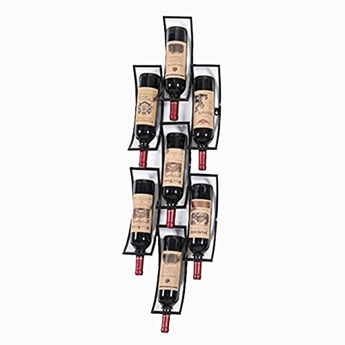 Supporto da Parete in Ferro per Vino Rack Holder 7 Bottiglie Display Retro Shelf Stile Industriale...