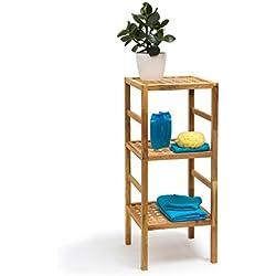 Relaxdays Badregal Holz verschiedene Größen 3-5 Ablagen Standregal aus Walnuss geölt Holzregal für natürlichen skandinavischen Stil 3,4 & 5 stöckig aus Massivholz für Bad, Küche, Flur, Sauna, braun