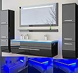 HOMELINE Badmöbel Set Doppelwaschbecken Waschbecken Spiegel und Ablage Vormontiert Badezimmermöbel LED Hochglanz lackiert Homeline1 Schwarz 120 cm 2 Hängeschränke