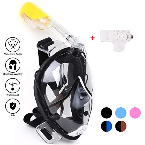 Maschera da Snorkel/ Maschera per Snorkeling, Full Face Design (Nero, S-M)
