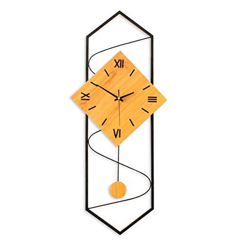 qwqqaq Moderno Orologio da Parete con Pendolo, Legno Massello Grande Quadrante Soggiorno Orologio, Spazzare Movimento Non-ticchettio Mute Orologio da Muro al Quarzo-a 30x70cm(12x28inch)