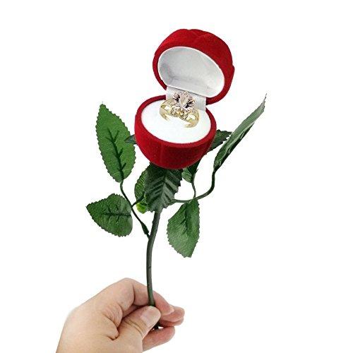 Kamla Sellers Red Velvet Rose Ring Box