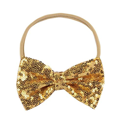 Voberry@ Baby-Girl's Bow Sequin Elastic Hair Head Hairband Phtography Props Headband for 6Monthes-3Years Old Baby Gold