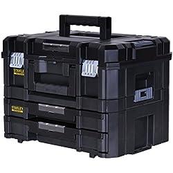 Stanley FatMax Werkzeugkoffer / Werkzeugkasten-Combo TSTAK (21.5L Fassungsvermögen, mit 2 Schubladen und Organizern für Kleinteile, mit Metallschließen, mit herausnehmbaren Innenteilern) FMST1-71981