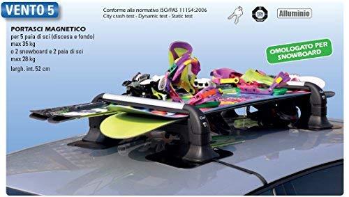 GEV A8940 Portasci Magnetico Antifurto Vento 5, Set di 2