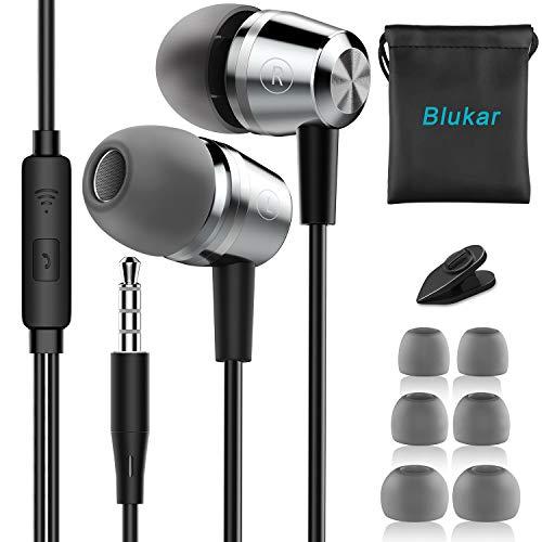 Blukar Auricolari, Ear Cuffie Auricolari Stereo in Metallo con Microfono - Alta Definizione, Bassi...