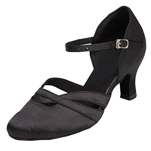 the best attitude 04c80 a7272 Minitoo - Comode scarpe da donna in raso con tacco basso, modello TH152,  ideali per matrimoni, balli latino americani, tango, scarpe da ballo, Nero  ...