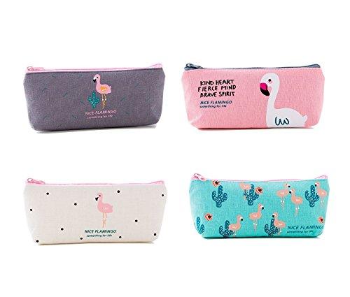 Tukistore Astucci per matite Flamingo Canvas Student Coin Purse Pouch Borse per trucco cosmetico,...