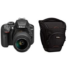 Nikon D3400 (versión española con acceso a Nikonistas y 6 cursos gratis) - Kit de cámara réflex digital de 24.2 MP con objetivo estabilizado 18-55 AFP DX VR (LCD 3?, con Snapbridge, vídeo Full HD), color negro + AmazonBasics - Funda para cámara de fotos réflex, color negro