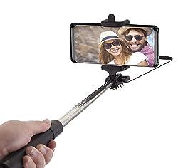 Kaufen Power Theory Selfie Stick - Batterielose Selfie Stange ohne Bluetooth für iPhone XS Max X 8 7 Plus 6s 6 SE 5S 5 Samsung Galaxy Android S8 S7 Edge S6 S5 S4 Note Mini GoPro Smartphone - Universal Monopod Stab mit AUX Kabel (Schwarz)